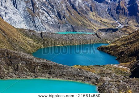 The three lagoons at the Cordillera Huayhuash, Peru