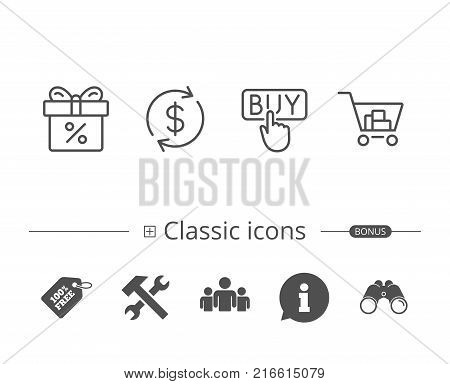 Shopping cart, Discount Box and Sale icons. Buy button and Update currency symbol. Online buying. Information speech bubble sign. And more signs. Editable stroke. Vector