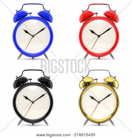 Set of 4 alarm clocks isolated on white background. Vintage style red, blue, black, golden clock. Graphic design element for flyer, poster, sale. Deadline, wake up, happy hour concept. 3D illustration