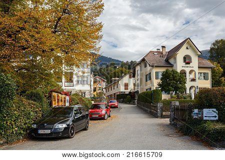 MILLSTATT AM SEE/ AUSTRIA - OCTOBER 8, 2017. Autumn in the town of Millstatt am See, situated on the shore of the Millstatt lake. Gurktal Alps, state of Carinthia, Austria