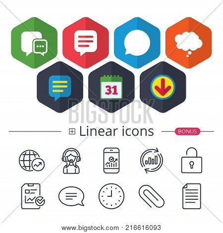 Calendar, Speech bubble and Download signs. Chat icons. Comic speech bubble signs. Communication think symbol. Chat, Report graph line icons. More linear signs. Editable stroke. Vector