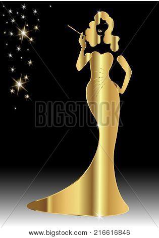 Gold luxury silhouette diva, shop logo fashion. Company logo design, Beautiful cover girl retro , isolated or black background with brilliant stars