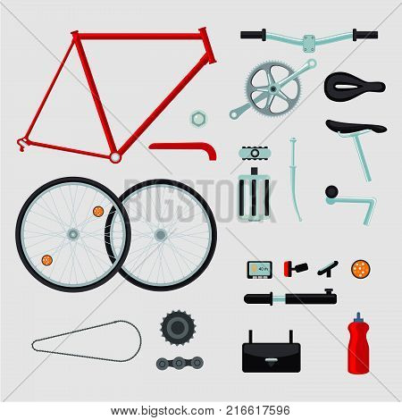 Bicycle details. Isolated on white bike parts. Flat style