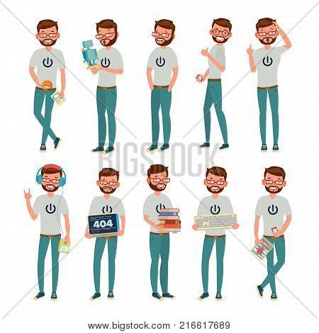 Geek Character Vector. Man. Classic Geek, Nerd. Isolated On White Cartoon Illustration