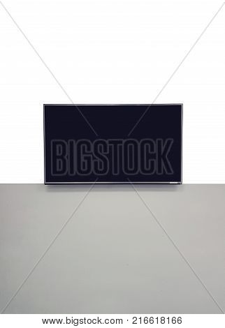 Tv Hanging On The Wall Vector With Black Screen.