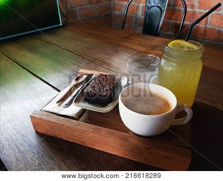 Coffee Cup With Breakfast Dessert