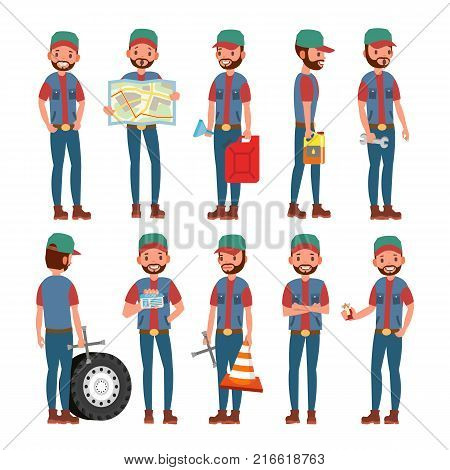 Truck Driver Character Vector. Man. Classic Driver. Isolated On White Cartoon Illustration