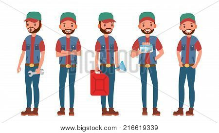 Classic Truck Driver Vector. Retro Professional Funny Automobile Driver. Sleuthing, Disguising. Flat Cartoon Illustration