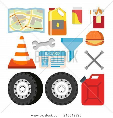 Driver Items Set Vector. Automobile Objects Accessories. Map, Oil, Soda, Cigarettes, Road Cone, Wrench Canister Gasoline Burger Hamburger Isolated Illustration