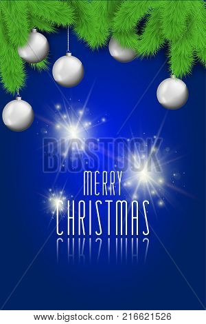 Merry Christmas background with christmas balls and lights. Stock vector
