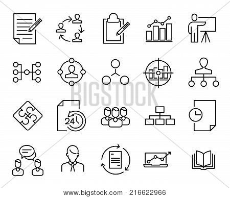 Simple collection of scrum agile related line icons. Thin line vector set of signs for infographic, logo, app development and website design. Premium symbols isolated on a white background.