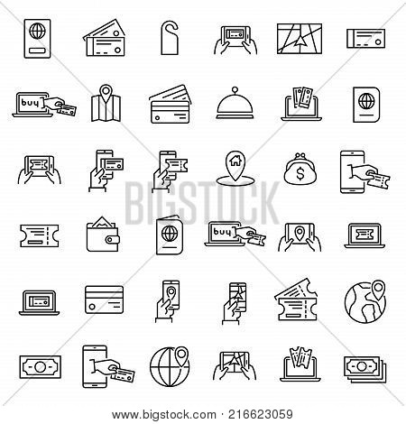 Simple set of online booking related outline icons. Elements for mobile concept and web apps. Thin line vector icons for website design and development, app development. Premium pack.