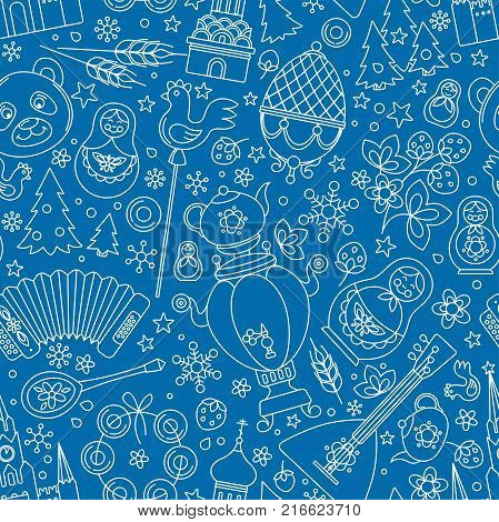 Russia thin line icons seamless background abstract pattern. Vector collection Russian culture signs, Moscow Kremlin, Cathedral, russian doll matryoshka, balalaika, samovar, bear. Isolated blue white.