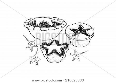 Illustration Hand Drawn Sketch of A Traditional Christmas Mince Pies Filled with A Mixture of Dried Fruits and Spices Served During The Christmas Season.