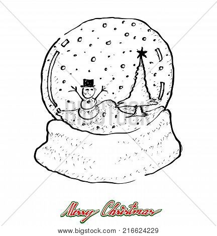 Illustration Hand Drawn Sketch of Various Style of Lovely Christmas Snow Globe, Glass Ball or Snowdome with Snowman, Sign For Xmas Celebration Event.