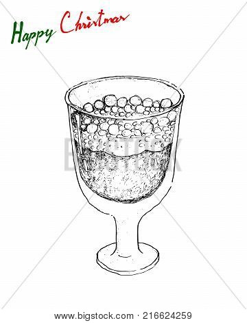 Illustration Hand Drawn Sketch of Julmust or Soft Drink Made of Carbonated Water, Sugar, Hop Extract, Malt Extract, Spices, Caramel Colouring, Citric Acid and Preservatives for Christmas in Sweden.