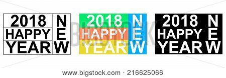 2018 happy NEW YEAR greeting banner words from letters Scrabble, vector EPS Christmas icon logo new year set