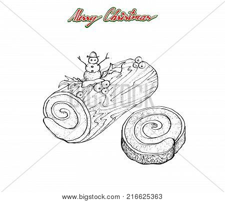 Illustration Hand Drawn Sketch of A Traditional Christmas Cake, Yule Log Cake or Buche de Noel with Mistletoe Bunch for Christmas Celebration, Isolated on White Background.