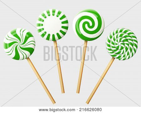 Set of green christmas candy on wooden stick. Striped peppermint lollipops isolated on white. Best vector image for christmas new years day sweet-stuff winter holiday dessert new years eve