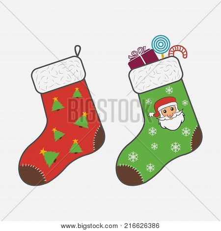 Christmas socks. Attribute of Christmas and New Year. Socks for gifts from Santa Claus snowflakes Christmas trees candy. Vector illustration.
