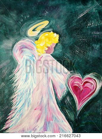 Acrylic painting on canvas of an Angel holding a heart