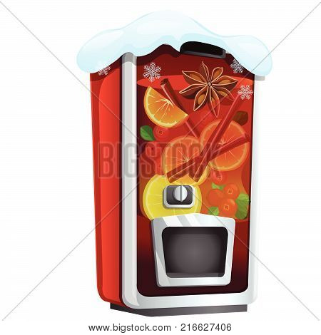 Machine for sugary soda water or mulled wine isolated on a white background. Sketch of Christmas festive poster, party invitation, other holiday card. Vector cartoon close-up illustration.