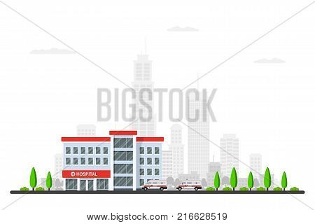 Picture of hospital building with ambulance cars, trees and bi city sillhouette on background. Flat style illustration.