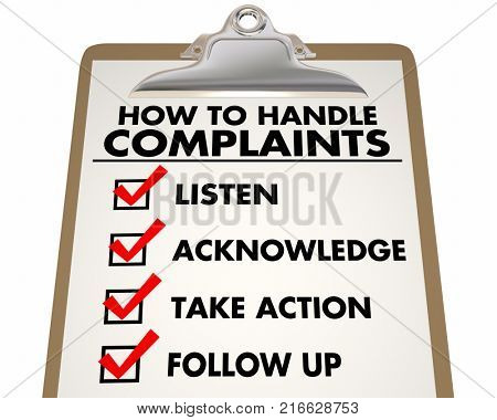 How to Handle Complaints Customer Service Checklist 3d Illustration