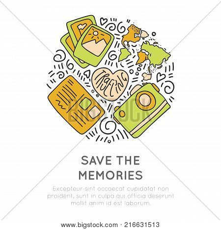 Save the memories travel icons. Concept icon design about travel, adventure and collect moments. Round icon travel illustration collection moments, not things isolated on white background