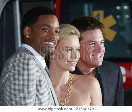 LOS ANGELES - JUN 30: Will Smith, Charlize Theron and Jason Bateman at the premiere of 'Hancock' in Los Angeles, California on June 30, 2008