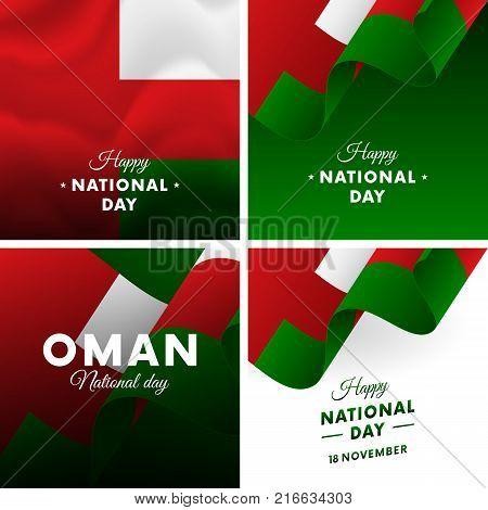 Banner or poster of Oman National Day celebration. Super set. Waving flag. Vector illustration.