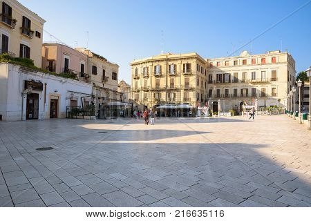 Bari Italy - September 02 2016: View of the Piazza del Ferrarese the main square of the center of Bari
