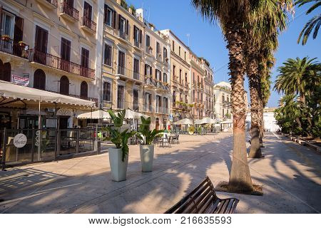 Bari Italy - September 02 2016: Corso Vittorio Emanuele street with many cafes in the capital city of Apulia region in southern Italy