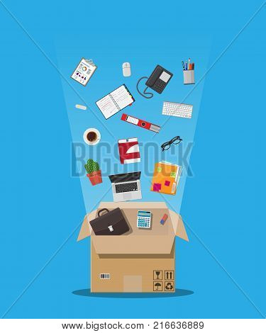 Moving to new office. Cardboard box with folder, document paper, contract, calculator, pen and pencils, eyeglasses, book, ring binder, phone. Keyboard, mouse cactus Vector illustration in flat style