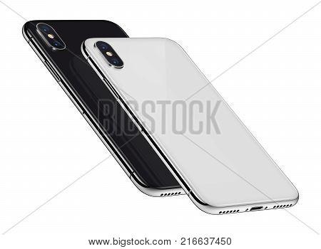 Isometric smartphones similar to iPhone X back side. Smartphones backside 3D illustration.