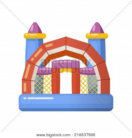 Children entertainment playground, recreation park. Gaming inflatable complex for having fun on inflatable attraction playground. Place for children's games. Amusement park. Vector flat illustration.
