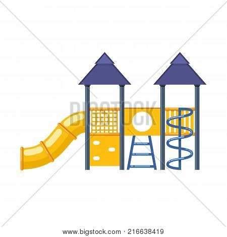 Kids games. Children's entertainment complex with slides, stairs, awnings, attractions, recreation park. Place for children's games. Amusement park. Vector flat illustration.