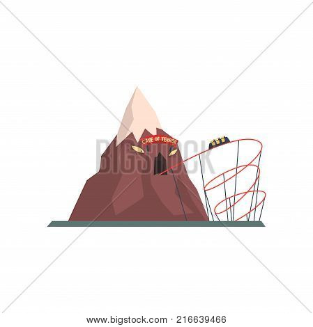 Cave of terror with tunnel for tram. Extreme attraction. Mountain with evil face. Amusement park. Funfair or carnival concept. Isolated flat vector illustration. Design element for poster or flyer.