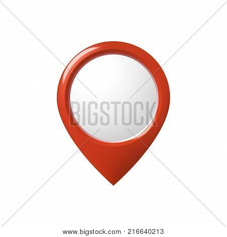 Location concept. Red map pointer isolated on white background. Vector stock.
