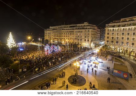 Aristotle's Square In Thessaloniki With The Christmas Tree