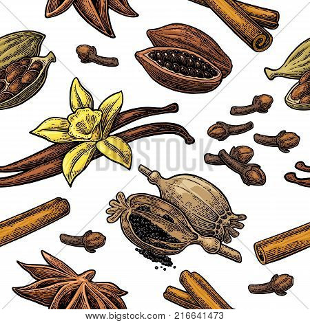 Seamless pattern set of spices. Anise star, cardamom, clove, cinnamon stick, fruits of cocoa beans, vanilla stick and flower, poppy heads and seeds. Vector color engraving isolated on white background