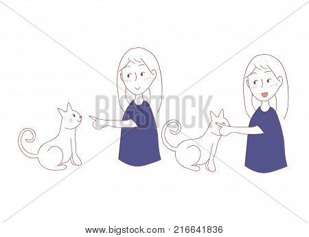 Cat Rubbing Girl Hand with Cheek. I trust you in Cat Language. Vector Illustration. isolated on white background.