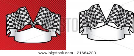 checkered cross finishing line racing flags on background with scroll space for message