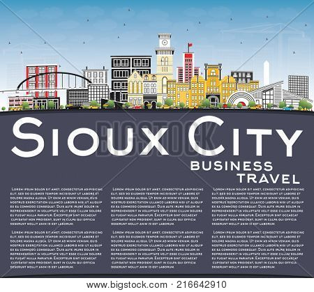 Sioux City Iowa Skyline with Color Buildings, Blue Sky and Copy Space. Business Travel and Tourism Illustration with Historic Architecture.