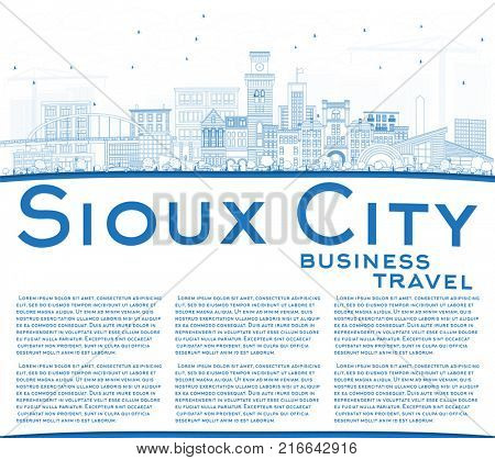 Outline Sioux City Iowa Skyline with Blue Buildings and Copy Space. Business Travel and Tourism Illustration with Historic Architecture.