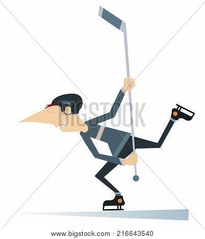 Man an ice hockey player isolated. Cartoon man in helmet plays ice hockey
