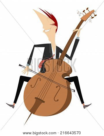 Cartoon smiling cellist isolated. Smiling cellist is playing music with inspiration