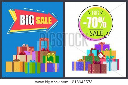 Big total sale - 70 off super half price discounts on round and arrow advert labels isolated on vector posters with gift boxes in decorative wrapping