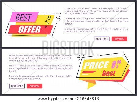 Best offer and price collection of websites with stars and lines as decorative elements, titles and text sample with buttons vector illustration