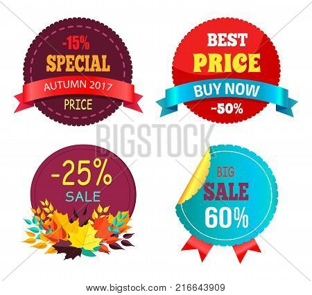 Best sale 2017 autumn discount buy now hot price promo posters with percent signs, round advertisement labels with foliage vector isolated on white